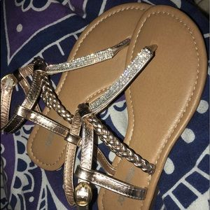 caca0c5260aa19 Joe Boxer rose gold and sparkle sandals